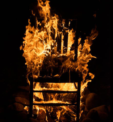 Fire safety training chair on fire