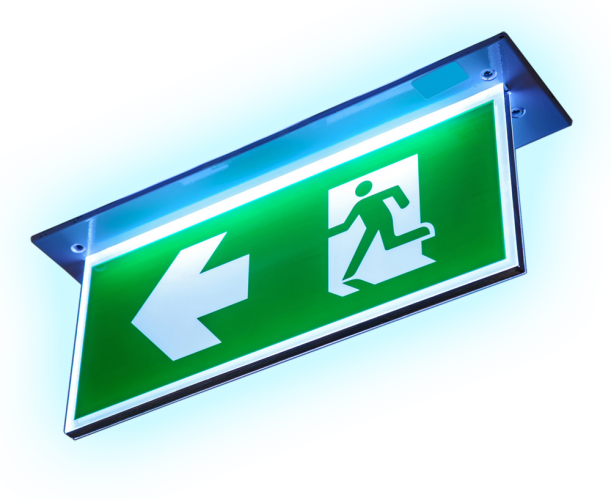 Emergency lighting fire exit sign